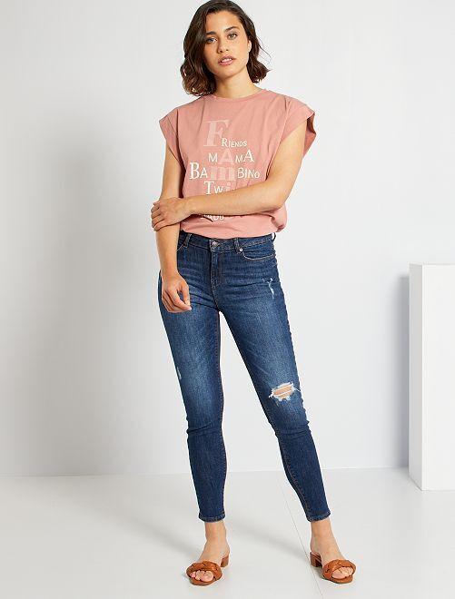 Jeans skinny destroyed a vita alta                                                                 BLU
