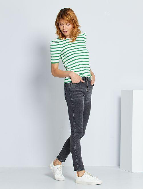 Jeans skinny effetto neve                             NERO