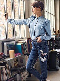 Jeans vita alta - Jeans skinny ricamati vita alta - Kiabi