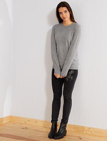 Jeans skinny ricamati vita alta - Kiabi