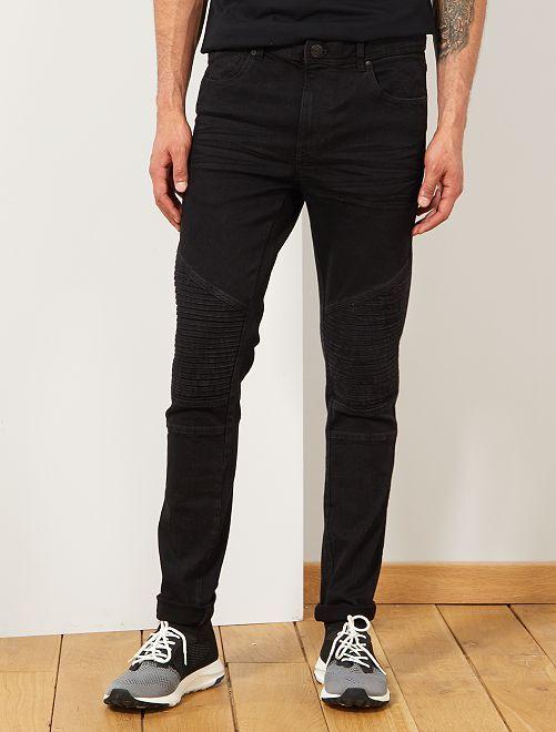 Jeans skinny stile motociclista                             NERO Uomo