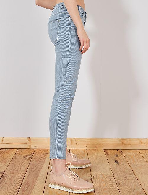 Righe Kiabi Blu 15 Vita Donna Jeans Alta Lk1tc3fj 00�A Skinny 534ALjR