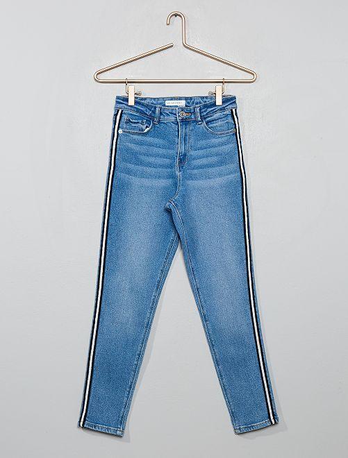 Jeans skinny vita alta con strisce                                         BLU