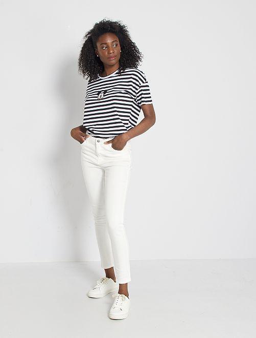 Jeans skinny vita alta lunghezza 28                                                                 bianco neve