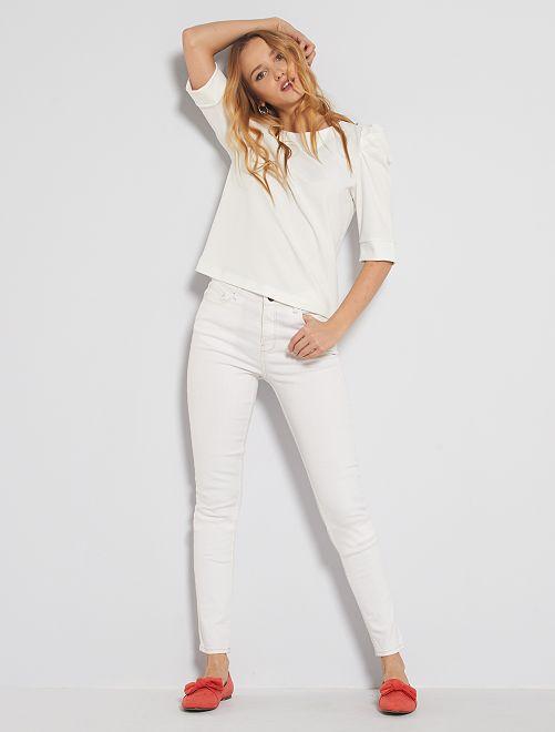 Jeans skinny vita alta lunghezza US34                                                                 bianco neve