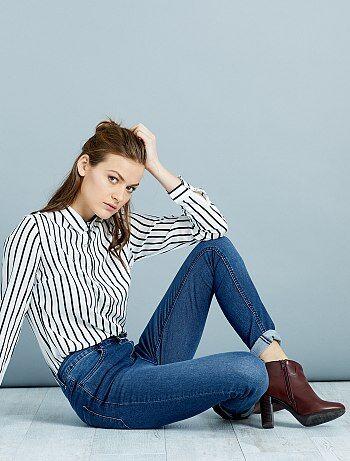 Jeans skinny vita molto alta - Lunghezza US32                                             blu Donna