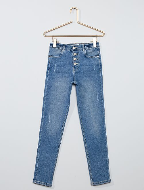 Jeans slim a vita alta destroy                                                     BLU