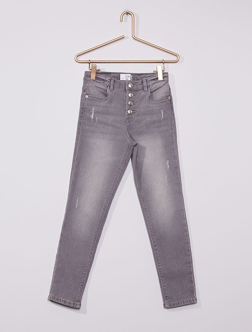 Jeans slim a vita alta destroy                                                                 GRIGIO