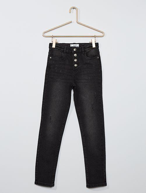 Jeans slim a vita alta destroy                                                     NERO