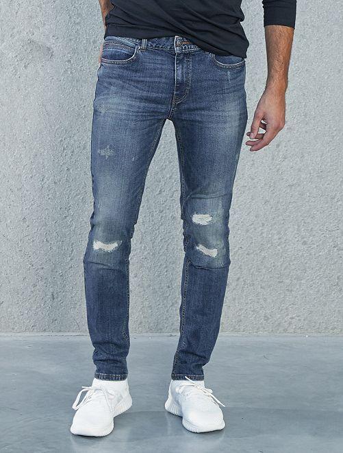 Jeans slim abrasioni                             BLU Uomo