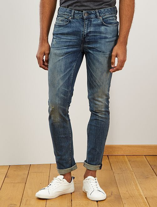Jeans slim abrasioni                             BLU