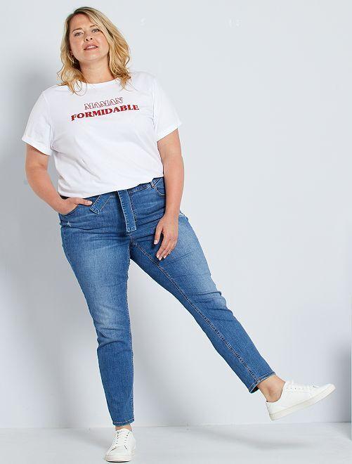 Jeans slim con cintura                             BLU