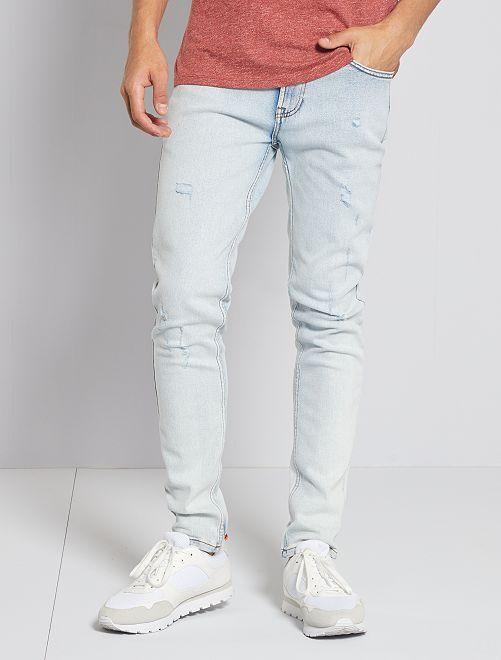 Jeans slim destroy                             BLU