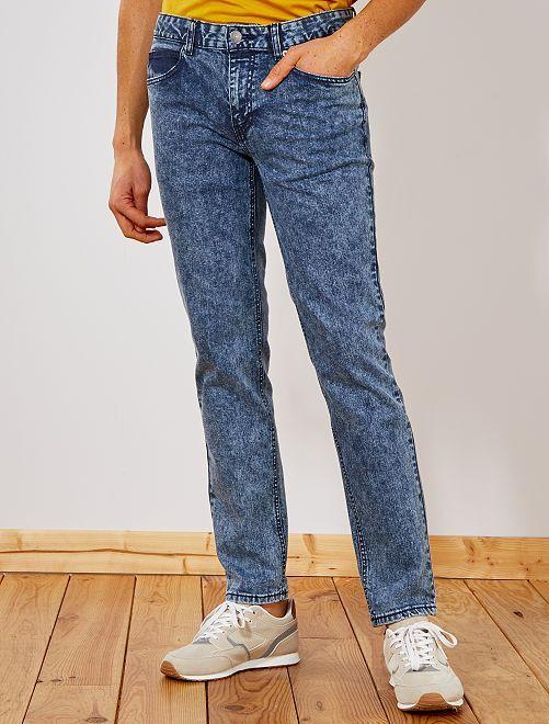 Jeans slim effetto neve                                         BLU Uomo