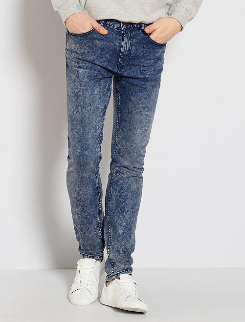 Jeans slim effetto neve                                         BLU