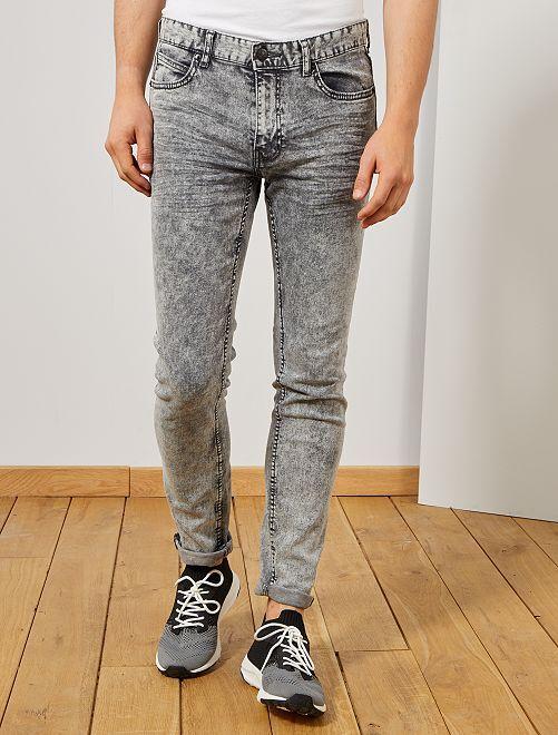 Jeans slim effetto neve                                         GRIGIO Uomo