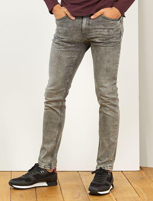 Jeans slim effetto neve                                         GRIGIO