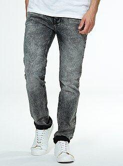Jeans - Jeans slim grigi effetto delavé