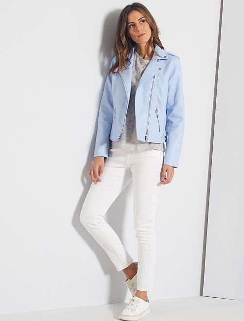 Jeans slim lunghezza US 28 eco-sostenibili                                                     bianco neve