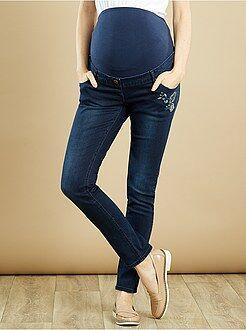 Premaman Jeans slim premaman ricami
