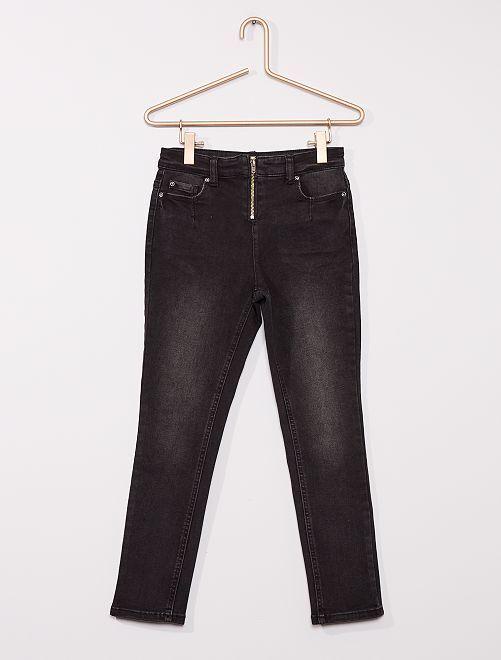 Jeans slim spalmati Bambino di corporatura robusta                             NERO