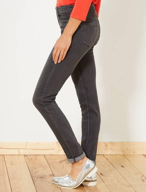 Jeans slim vita molto alta - Lunghezza US32                                                                             grigio scuro Donna