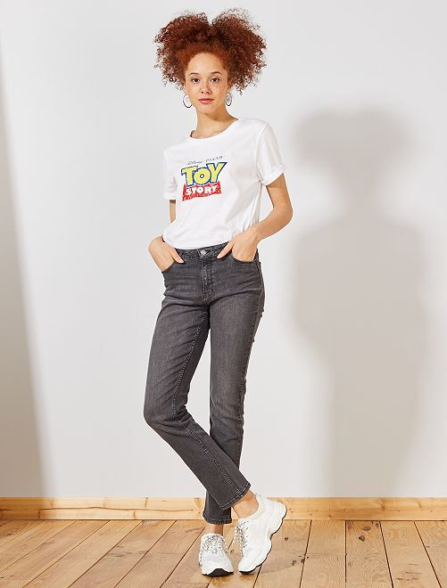 Jeans vita alta taglio regular stretch                                             grigio Donna