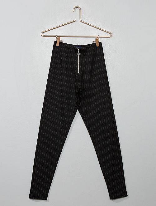 Jeggings con zip a righe                                         NERO