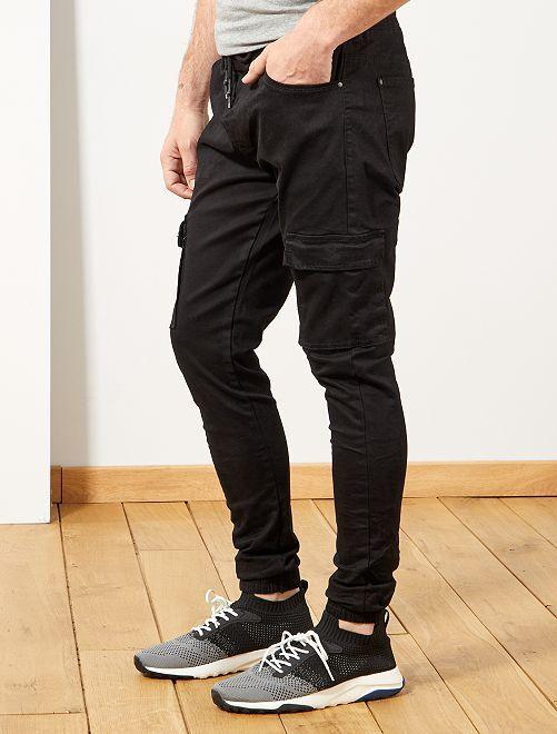 Joggpants jeans skinny tasche cargo                             nero Uomo