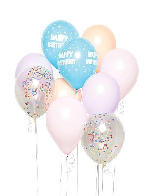 Kit di 10 palloncini 'Happy Birthday'                             multicolore