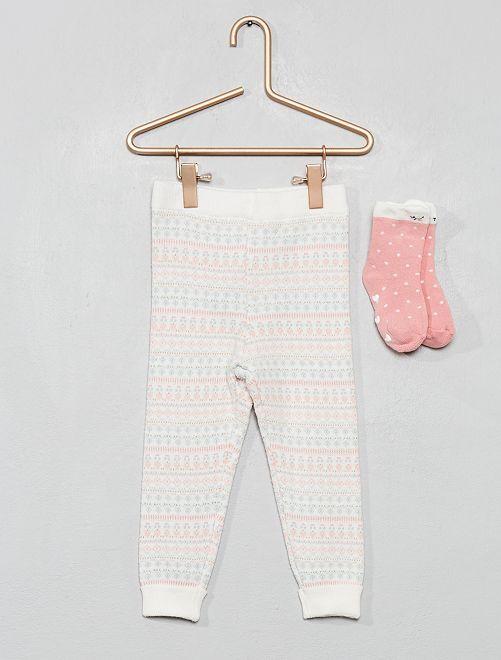 Leggings + calzini in maglia                     BIANCO