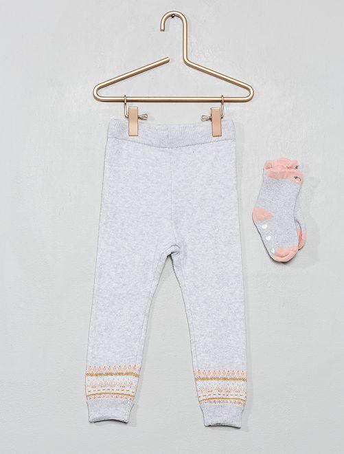 Leggings + calzini in maglia                                                     GRIGIO