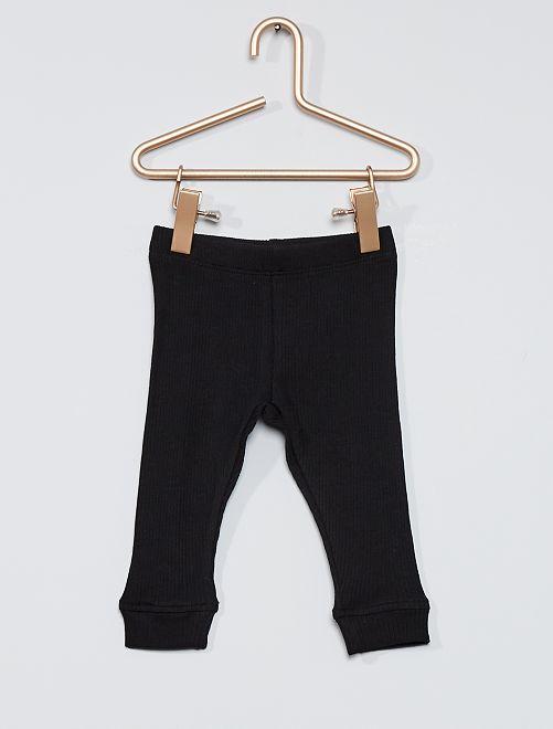 Leggings in maglia a coste eco-sostenibili                     nero