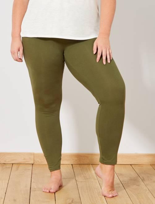 Leggings lunghi cotone STRETCH                                                                 VERDE Taglie forti donna