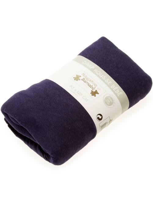 Lenzuolo con angoli tinta unita per letto bebè                                                                                         blu marino Neonato