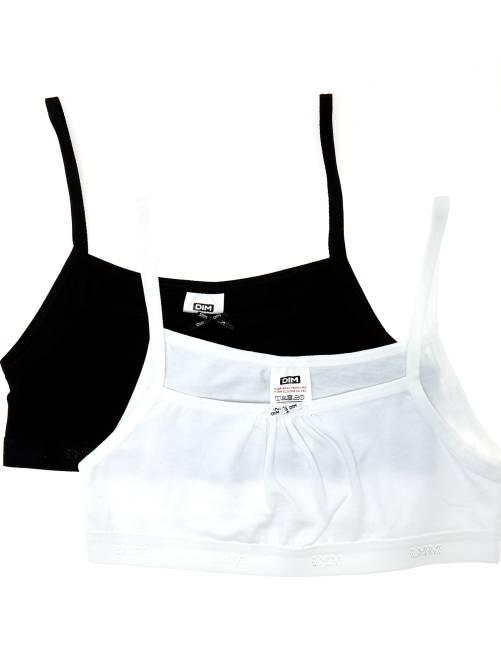 Lotto di 2 reggiseni in cotone 'Dim Girl'                             nero/bianco