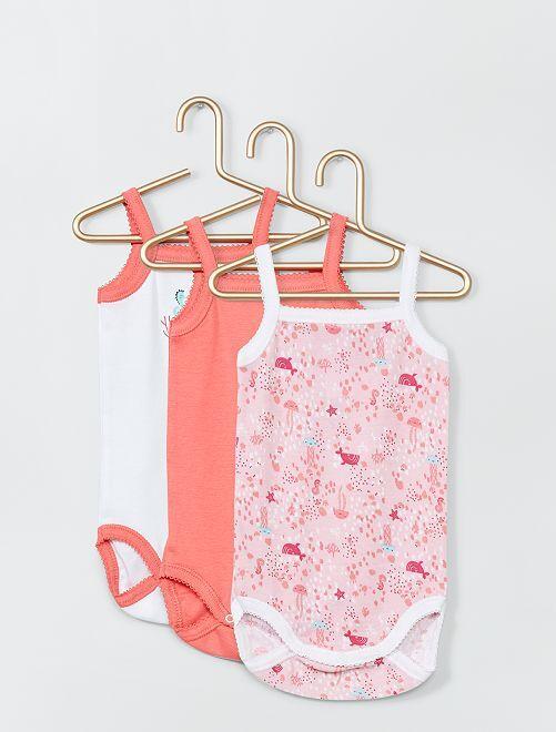 Lotto di 3 body 'Absorba'                             rosa/bianco