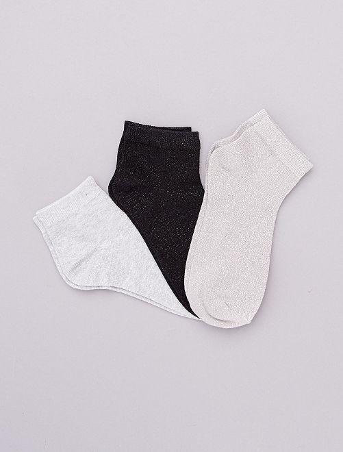 Lotto di 3 paia di calzini effetto paillettato                                                                 argento