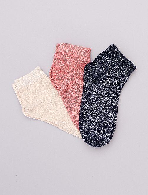 Lotto di 3 paia di calzini effetto paillettato                                                                 BLU