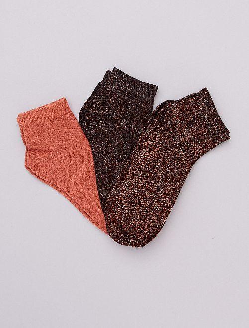 Lotto di 3 paia di calzini effetto paillettato                                                                 bronzo