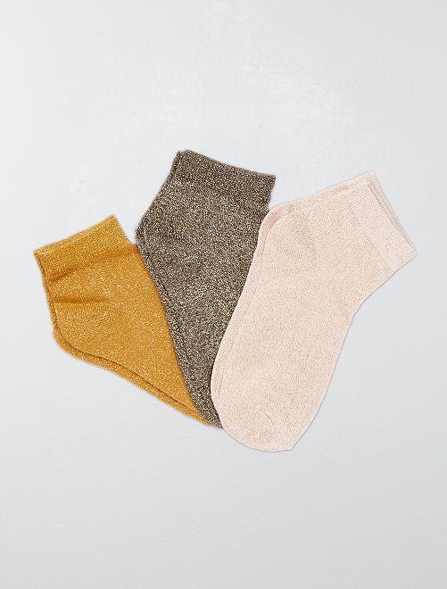 Lotto di 3 paia di calzini effetto paillettato                                                                 dorato