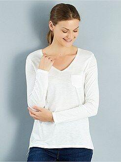Magliette bianco - Maglia maniche lunghe collo a V maglia fiammata
