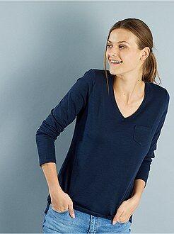 Magliette maniche lunghe - Maglia maniche lunghe collo a V maglia fiammata
