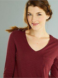 Donna dalla 38 alla 52 Maglia maniche lunghe collo a V maglia fiammata