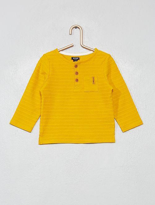 Maglia maniche lunghe collo tunisina                                         giallo bronzo