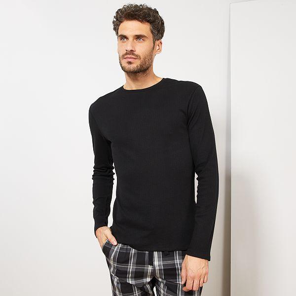 nuovo arrivo 7f684 65139 Maglia pigiama maniche lunghe Uomo - nero - Kiabi - 7,00€