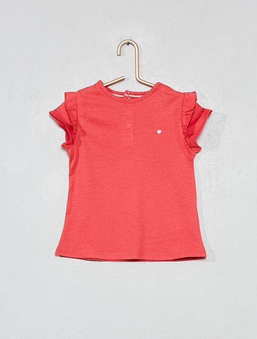 Maglia stampata cotone bio                                                                                                                                                                 rosa Neonata