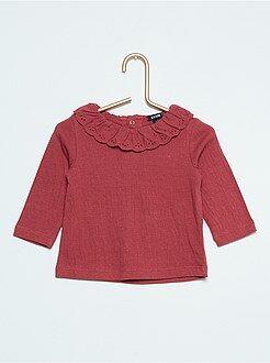 T-shirt - Maglia tessuta collo ricamato