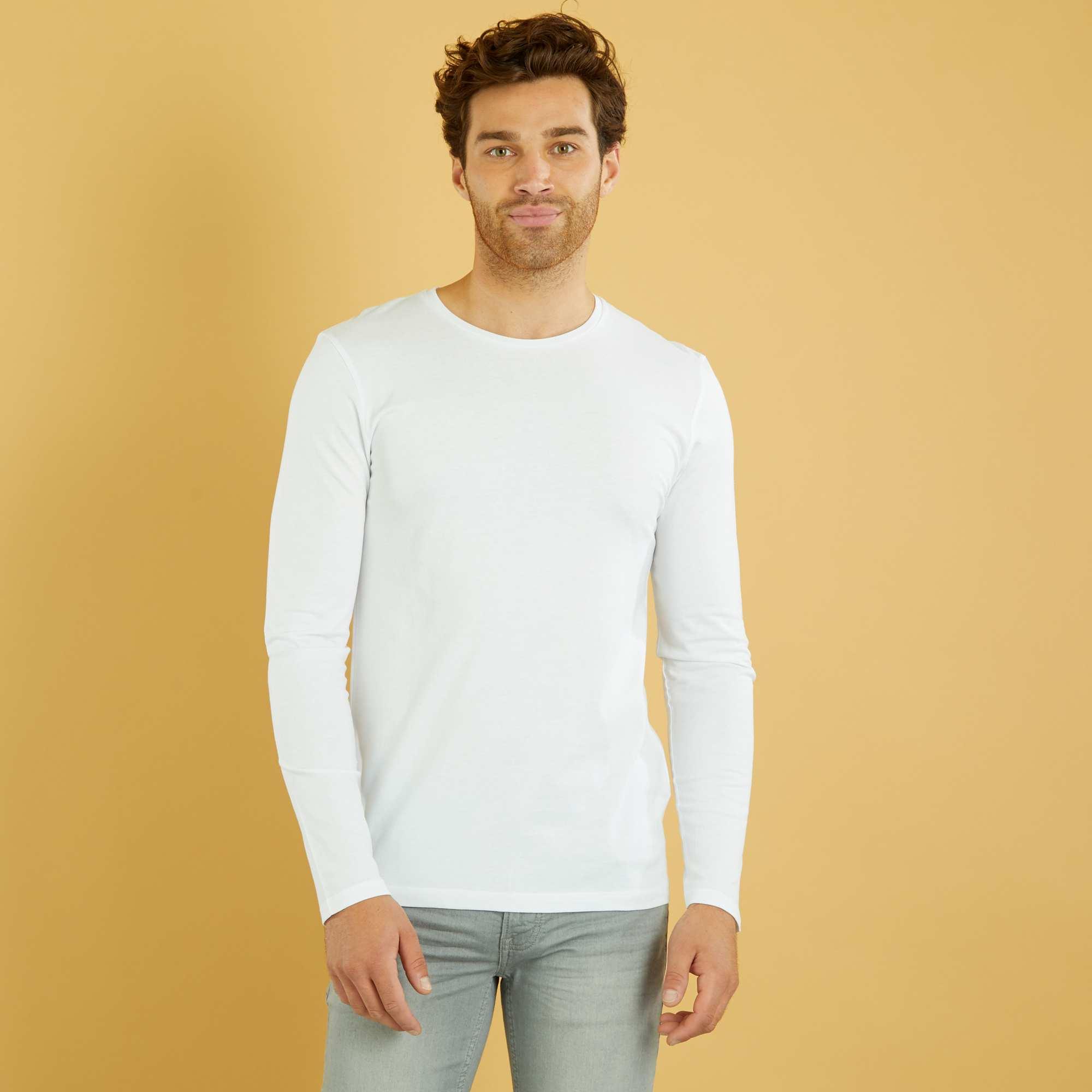 maglia tinta unita maniche lunghe uomo bianco kiabi 2 40. Black Bedroom Furniture Sets. Home Design Ideas