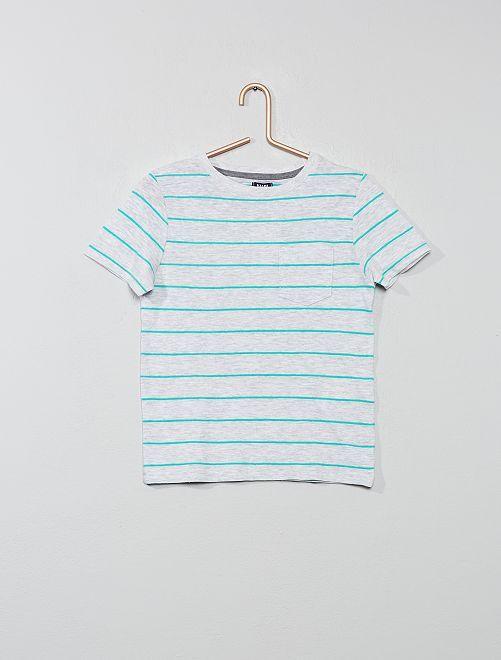 Maglietta a righe maglia fiammata                                                     GRIGIO Infanzia bambino